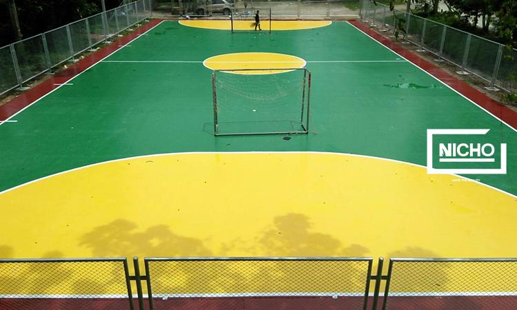 ผลงานไนโซ พื้นยางพาราสนามกีฬาร่วมกับโพลียูรีเทน