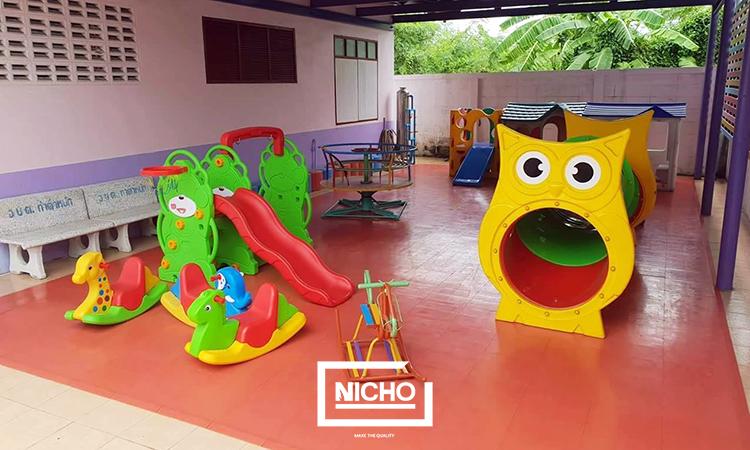 ผลงานไนโซ ติดตั้งพื้นยางพาราสนามเด็กเล่น ห้องเด็ก