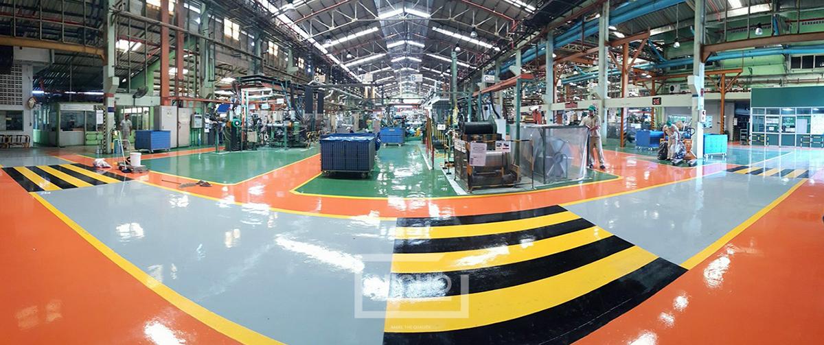 ผลงานไนโซ พื้นอีพ็อกซี่ Epoxy เคลือบพื้นโรงงาน พื้นคลังสินค้า