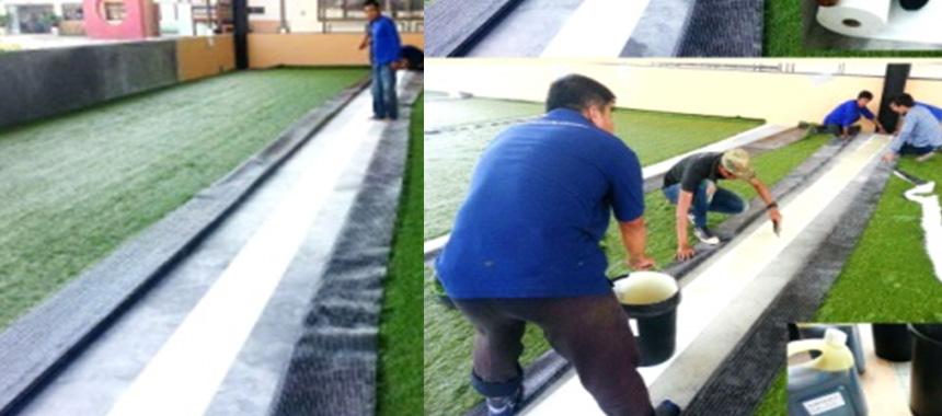 การต่อผืนหญ้าด้วย Joint Tape กาวโพลียูรีเทน
