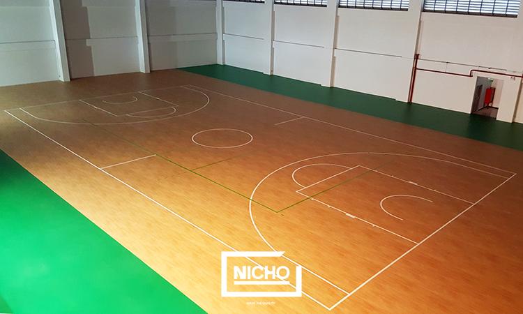 ผลงาน สนามบาสเกตบอลพื้นพีวีซี  (PVC Floor or Vinyl Floor)